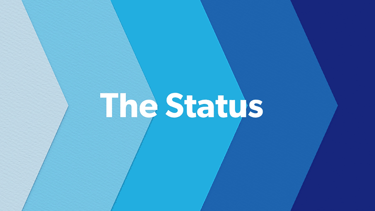The Status header with shades of blue